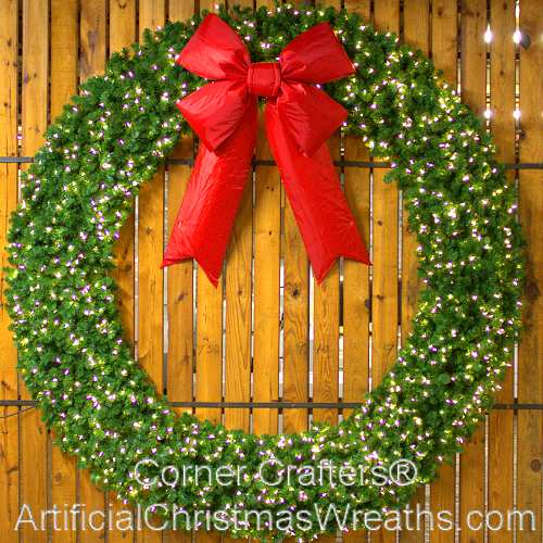 10 Foot (120 inch) L.E.D. Christmas Wreath with Large Red Bow