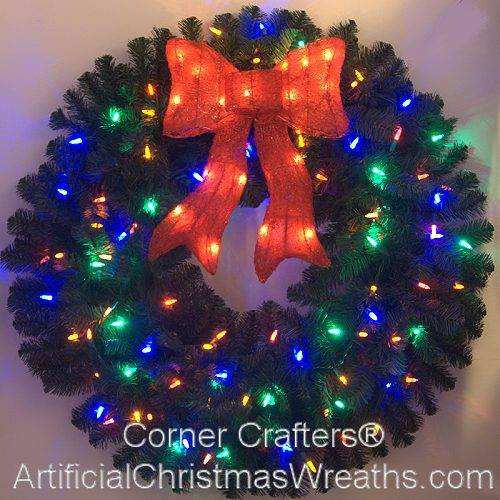 36 INCH COLOR CHANGING L.E.D. LIGHTED CHRISTMAS WREATH ...