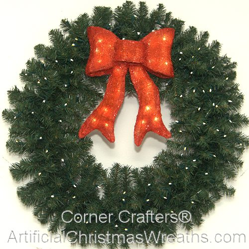 3 Foot (36 Inch) L.E.D. Christmas Wreath With Pre Lit Red Bow