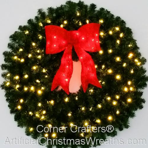 3 Foot (36 inch) Inc. Christmas Wreath with Pre-lit Red Bow