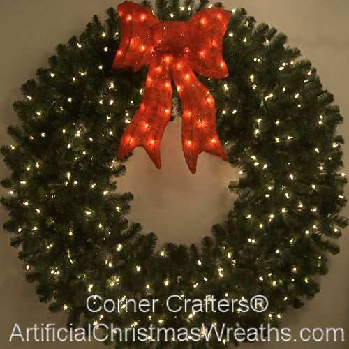 5 foot 60 inch incandescent christmas wreath with pre lit red bow