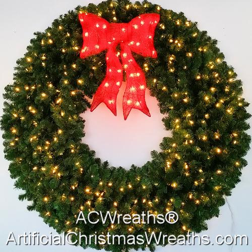 5 Foot (60 inch) Incandescent Christmas Wreath with Pre-lit Red Bow