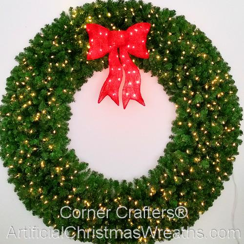 6 foot 72 inch led christmas wreath with pre lit red bow - Commercial Grade Outdoor Christmas Decorations