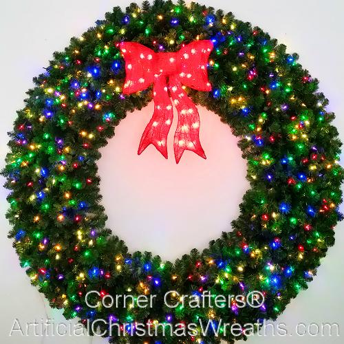 6 Foot (72 inch) Multi Color L.E.D. Christmas Wreath with Pre-lit Red Bow