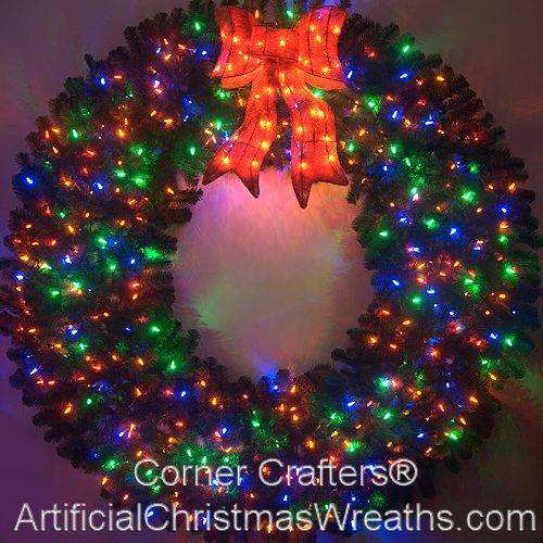 6 Foot (72 inch) Color Changing L.E.D. Prelit Christmas Wreath - 72 INCH COLOR CHANGING L.E.D. LIGHTED CHRISTMAS WREATH