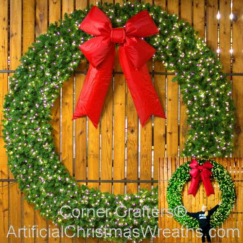 8 Foot (96 inch) L.E.D. Christmas Wreath with Large Red Bow