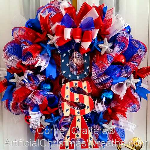 Deco Mesh Patriotic Wreath
