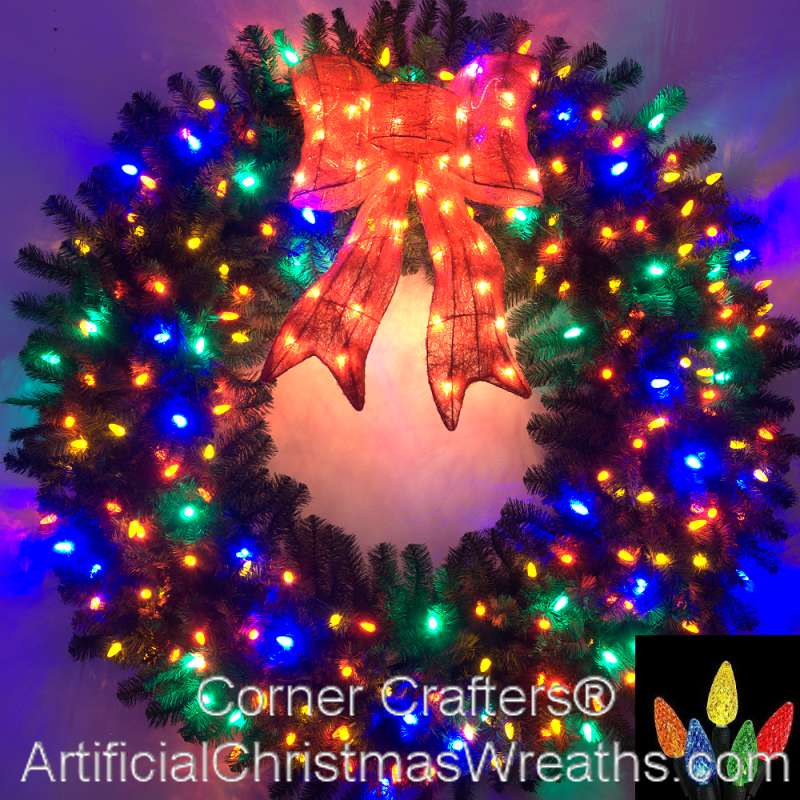 5 FOOT MULTI-COLOR L.E.D. CHRISTMAS WREATH ...