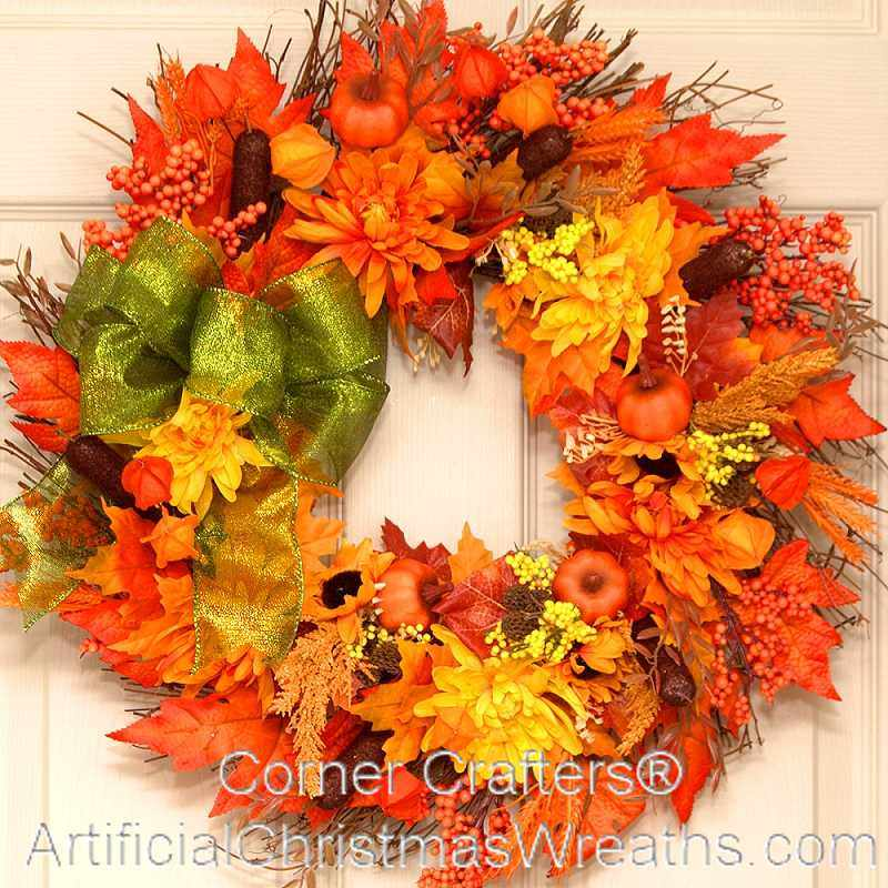 Autumn Splendor Thin Door Wreath Cornercrafters Com
