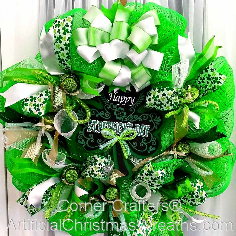 deco mesh st patrick 39 s day wreath irish decorations gifts wreaths. Black Bedroom Furniture Sets. Home Design Ideas