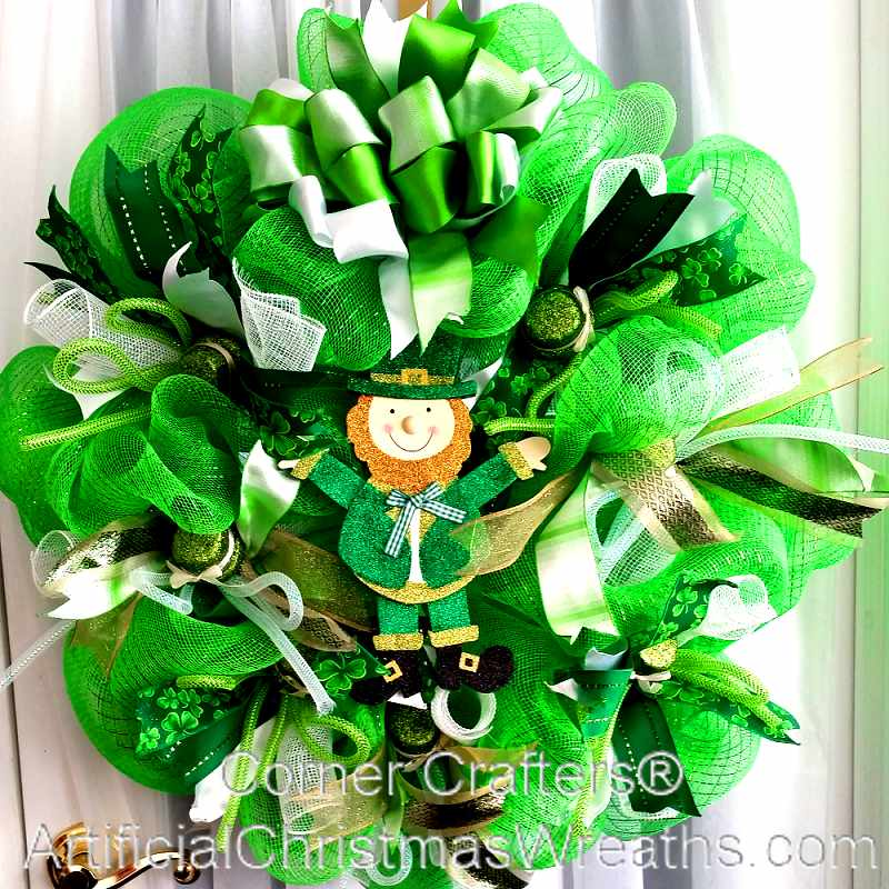 deco mesh st patrick 39 s day wreath irish decorations wreaths. Black Bedroom Furniture Sets. Home Design Ideas
