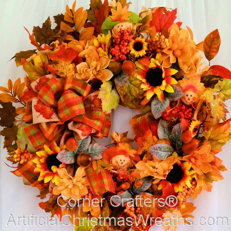 Fall Burlap Scarecrow Wreath Cornercrafters Com Autumn