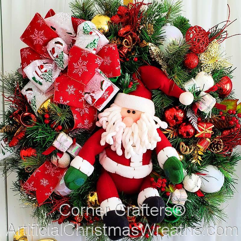 Santa christmas wreath xmas wreaths for Christmas wreath
