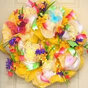 Deco Mesh Floral Wreath
