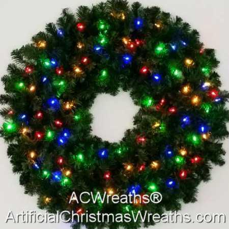 3 Foot (36 inch) Multi Color L.E.D. Christmas Wreath