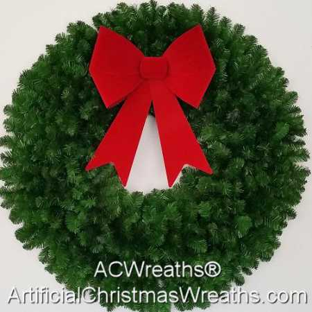 4 Foot (48 inch) Christmas Wreath (without lights) with Large Red Bow