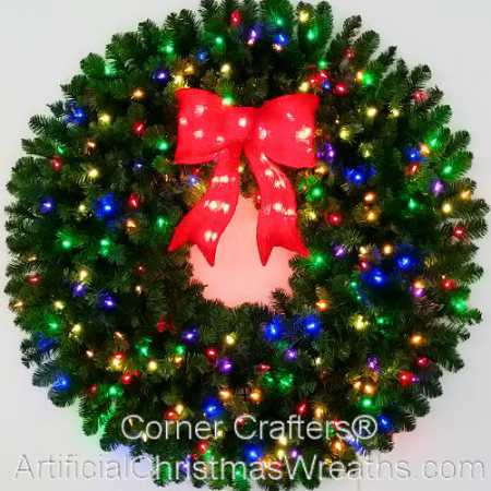 4 Foot (48 inch) Multi Color L.E.D. Christmas Wreath with Pre-lit Red Bow
