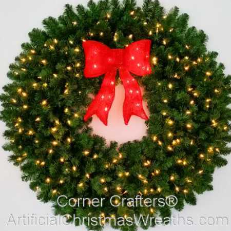 4 Foot (48 inch) L.E.D. Christmas Wreath with Pre-lit Red Bow