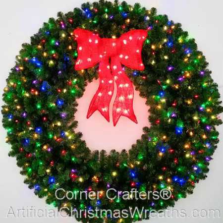 5 Foot (60 inch) Multi Color L.E.D. Christmas Wreath with Pre-lit Red Bow