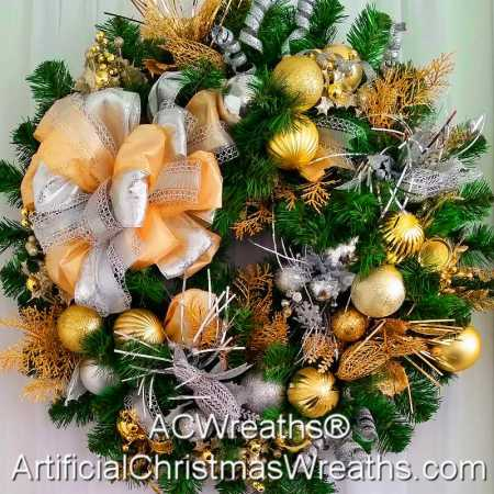 Silver and Gold Christmas Wreath