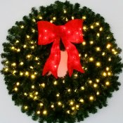 3 Foot (36 inch) L.E.D. Christmas Wreath with Pre-lit Red Bow