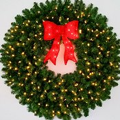 4 Foot (48 inch) Inc. Christmas Wreath with Pre-lit Red Bow
