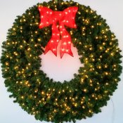 5 Foot (60 inch) L.E.D. Christmas Wreath with Pre-lit Red Bow
