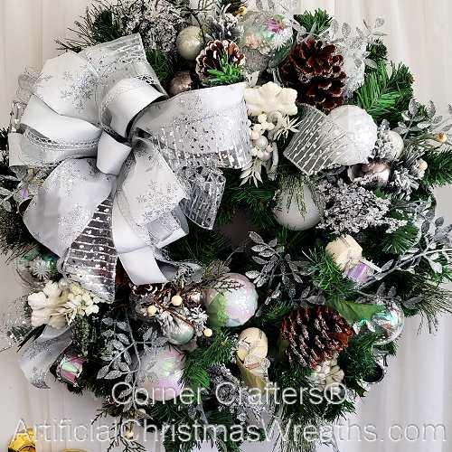 Christmas Wreaths.White Christmas Wreath